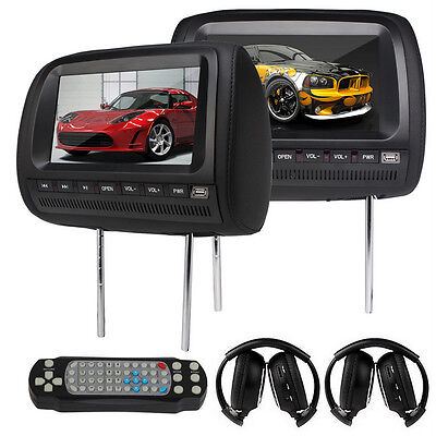 "2x 9"" HD LCD Car Pillow Headrest Monitor DVD Player Black IR Wireless Headphone"