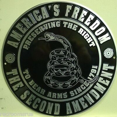 "AMERICA'S FREEDOM THE SECOND AMENDMENT 12"" metal sign NRA gun rights freedom"