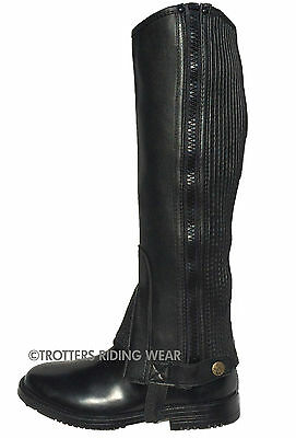 Adult Horse Riding Half Chaps/gaiters Real Leather Black All Sizes