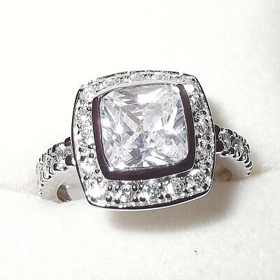 Rhodium Plated 925 Hallmarked Silver Cushion Cut Halo Engagement Or Dress  Ring