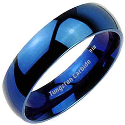 New Boxed Blue Plain Glossy Tungsten Carbide Mens Wedding Band Ring 7mm