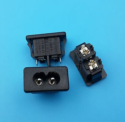 5Pcs AC250V 2.5A IEC320 C8 Male 2 Pins Power Inlet Socket Panel Embedded