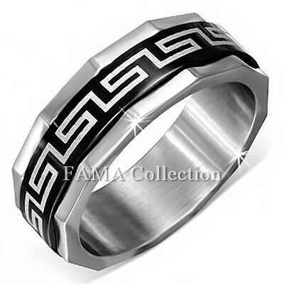 FAMA 8mm Stainless Steel Black Greek Key Coin Edge Spinning Band Ring Size 10-12