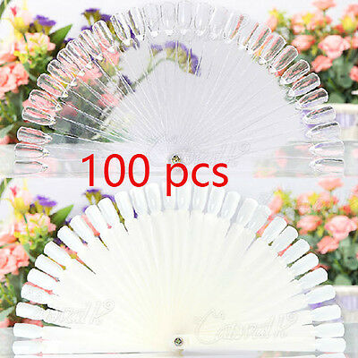 50 Nail Art Tips Colour Pop Sticks Display Fan Clear False Practice starter kit