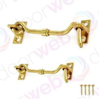 CABIN HOOK AND EYE Catch For Gate Shed Garage Patio Door Latch POLISHED BRASS