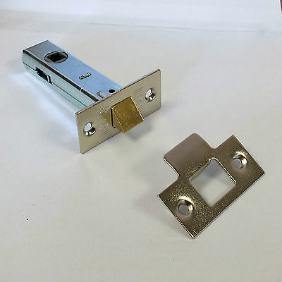 Tubular Mortice Door Latch Catch Zinc or Brass Finish 64mm or 76 mm