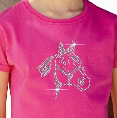 """Girl's T-Shirt (12 Colour options) Rhinestone Embellished """"Horse"""" 3 to 15 Yrs"""