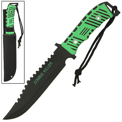 Pitfighter Full Tang Zombie Killer Apocalypse Fixed-Blade Green Survival Knife