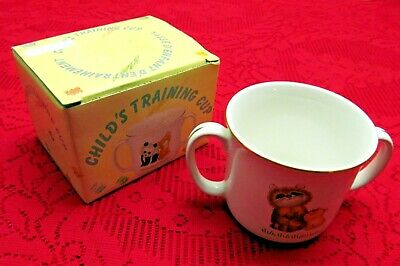 RARE VINTAGE & NEW CONDITION!! STONEWARE CHILD'S TRAINING CUP W/ANIMALS! JAPAN