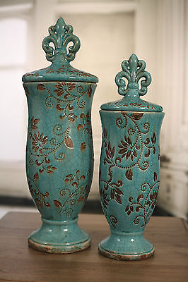 Ceramic 'Fleur de Lis' Top Curved Canisters. BRAND NEW. Two Sizes Available