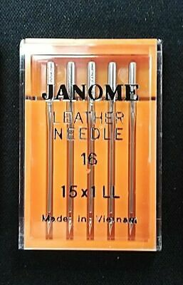 Janome Leather Point Needles Mix Size To Fit All Standard Sewing Machines 11-16