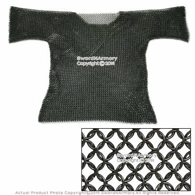 Medieval Renaissance Black Haubergeon Butted Chain Mail Half Sleeves Costume M