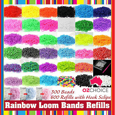 NEW 600 Color Rainbow Rubber Loom Bands Beads Refill w Clip Hook DIY Bracelet
