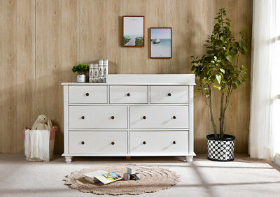 NZ Pine Baby Change Table 7 Chest of Drawers Dresser Free Change Pad - White