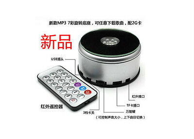 Unique Rotating 7 LED color MP3 Crystal Display Base Stand with 2G card remote
