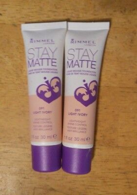 2 tube lot RIMMEL STAY MATTE LIQUID MOUSSE FOUNDATION 091 LIGHT IVORY unsealed