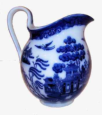 Antique Flow Blue Large Pitcher - Oriental Style - Flow Blue Willow