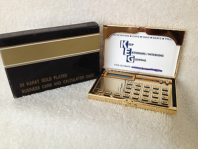Boxed 24 Karat Gold Plated Business / Credit Card Holder w/Calculator & Pouch