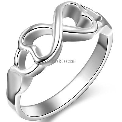 Polished Silver Tone Infinity Knot Love Engagement Wedding Ring for Ladies