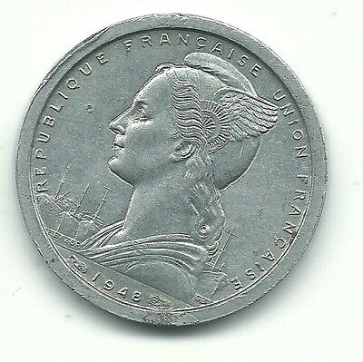 VERY NICELY DETAILED AU 1948 FRENCH EQUATORIAL 1 FRANC COIN-MAY526