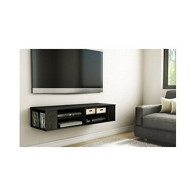 wall mounted media console tv stand black wood grain. Black Bedroom Furniture Sets. Home Design Ideas
