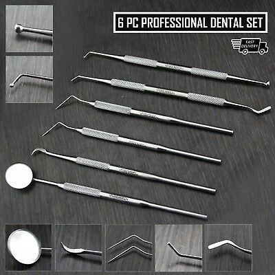 Dental Scaler Pick Stainless Steel Tools with Inspection Mirror Set 6 Pieces