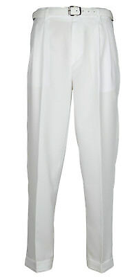 Mens White Dress Pants Big & Tall Pleated Slacks With Belt New Sizes 44 to 70
