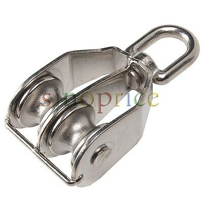 M32 32mm Double Sheave Stainless Steel Rope Pulley Block Chain Traction Wheel