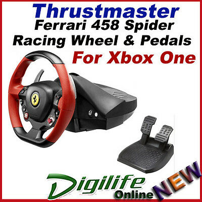 Thrustmaster Ferrari 458 Spider Racing Steering Wheel & Pedals for XBox One