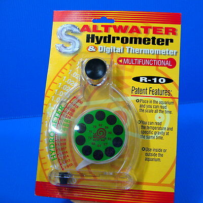 Saltwater Hydrometer & Digital Thermometer for Soft Coral Marine Fish Tank