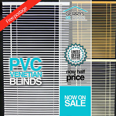 New PVC Venetian Blinds -3 Colours - Easy Fitting - FREE POSTAGE