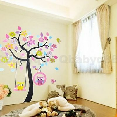 Large Owl Scroll Bird Flower Tree Wall decals Removable kids nursery sticker Art