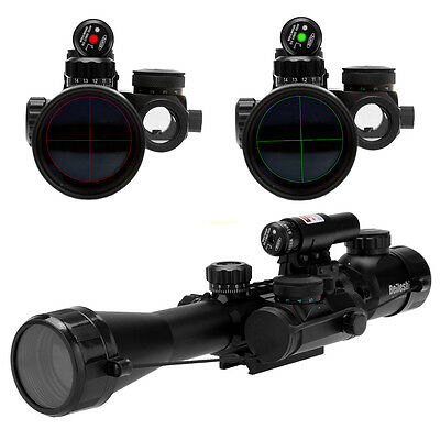 3-9X40 Tactical Rifle Scope illuminated With Red Laser & Holographic Dot Sight