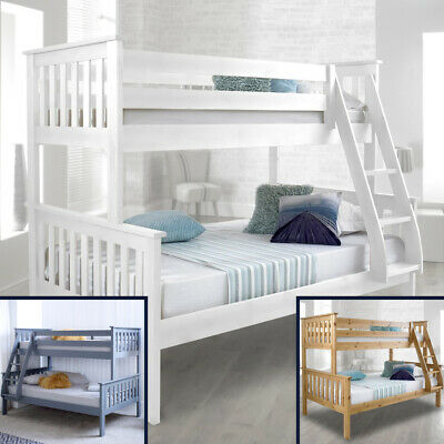 Happy Beds Atlantis Solid Wood Triple Sleeper Bunk Bed 3ft / 4ft 2x Mattress