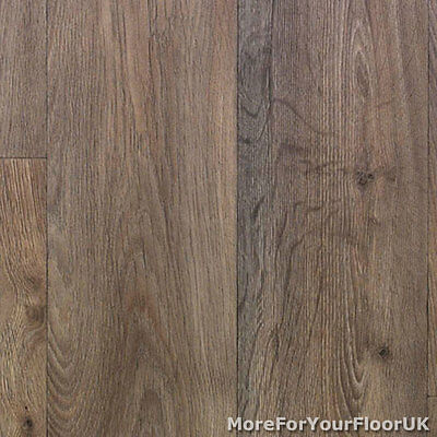 3.8mm Thick Vinyl Flooring Warm Brown Realistic Wood Plank Effect Kitchen CHEAP