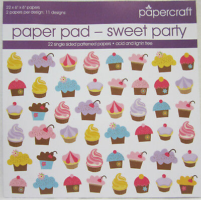 """Papercraft Scrapbooking & Card Making Paper Pad Sweet Party 22 Sheets 6""""x6"""" Size"""