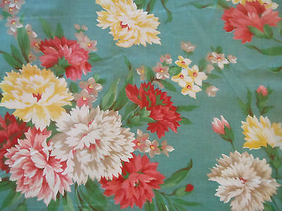 Vintage Floral Carnation 30's - 40's Cotton Fabric ~ Coral Pink Yellow Aqua Teal