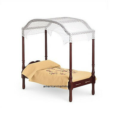 """American Girl CAROLINE BED & BEDDING for 18"""" Dolls Wood Yellow Canopy NEW"""