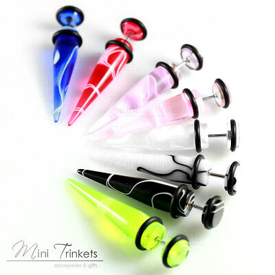 Marble Acrylic Fake Ear Stretcher Earring taper spike cheater expander earing