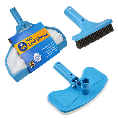Aussie Gold Pool Equipment Pack - Leaf Shovel Brush Vacuum Head Algae Brush
