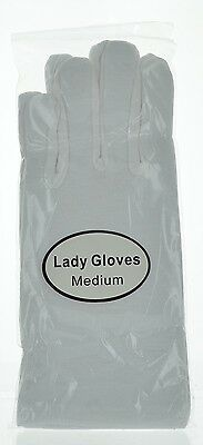 White Cotton Gloves for Inspection Wedding Easter Driving Costume Many Sizes
