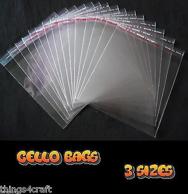 Cellophane Cello Clear Bags Resealable Various Sizes  UK Stock - High Quality