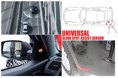 Universal Blind Spot Assist Warning Sensor BLACK Buzzer Light For Kia Hyundai