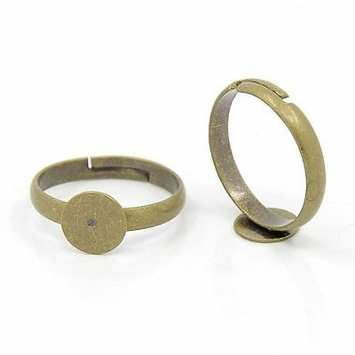 10pcs Adjustable Antique Bronze Brass Pad Finger Ring Bases Blank DIY Finding