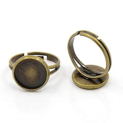 10pcs DIY Antique Bronze Adjustable Circle Pad Finger Ring Blank Bases Findings
