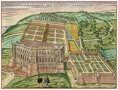 Caprarola Viterbo Lazio Italy bird's-eye view map Braun Hogenberg ca.1598