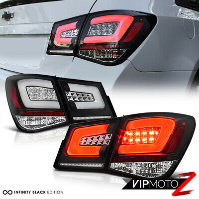 """2010-2015 Chevy Cruze """"OLED NEON TUBE"""" 4PC LED Rear Tail Lights Lamps Black SET"""