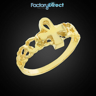 10k 14k Gold Ankh Cross Nugget Knuckle Ring