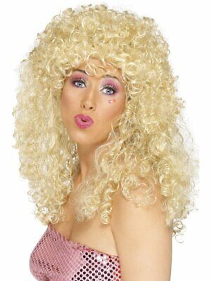1980's Blonde Boogie Babe Wig Adult Womens Smiffys Fancy Dress Costume