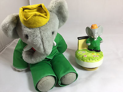 VINTAGE Babar Ceramic Hand Painted Music Box! Schmid 1979 Collectible Elephant